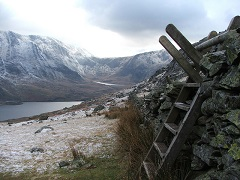 Steps on a historic path in Snowdonia, Wales